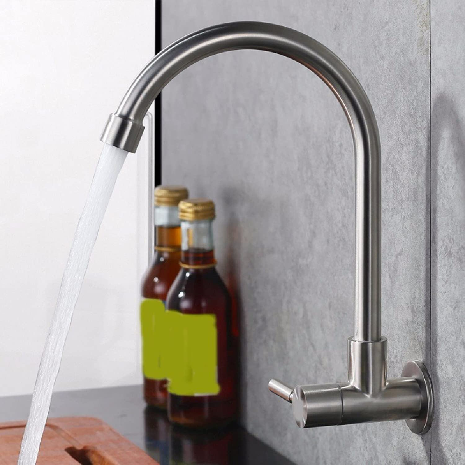 SHLONG Tap 304 Stainless Steel Wall-Mounted Single Cold Kitchen Faucet Balcony Mop Pool Faucet