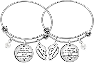 Grandmother Granddaughter Gifts Bracelets Heart Charm Bangles Women Jewelery - The Love Between Grandmother and Granddaughter Is Forever