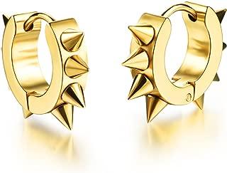 Mintik Rivets Hoop Earrings Stainless Steel Spikes Awl Piercing Taper Huggie Hinged Earrings
