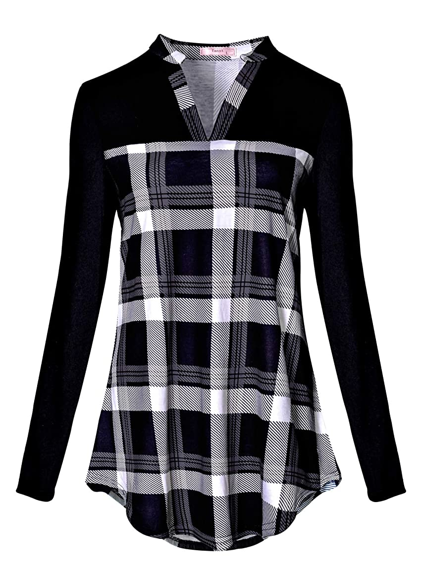 Tanst Women Notch V Neck Casual Plaid Long Sleeve Loose Tunic Blouses