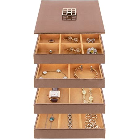 Frebeauty Earring Organizer Tray 32 Slot Jewelry Organizer Box 4 Stackable Trays with Lid Storage Display Case for Dresser and Drawer Jewelry Accessary Storage Box Black