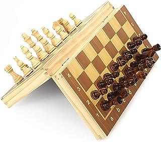 Owl's-Yard Jeu d'échecs magnétique, jeu d'échecs en bois pliable, jouets éducatifs pour enfants adultes avec échiquier, éc...