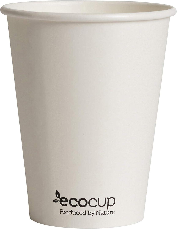 Vasos de Café Desechables, Biodegradables y Compostables- 50Uds 400ml/ 12oz -Materiales 100% Ecológicos: Cartón con Certificado FSC®, Revestimiento de Bioplástico PLA Ingeo™. Blanco