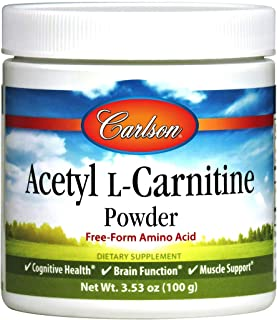 Carlson - Acetyl L-Carnitine Powder, Free-Form Amino Acid, Cognitive Health, Brain Function & Muscle Support, 3.53 oz (100 g)