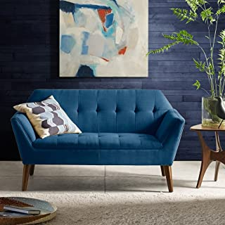 INK+IVY Newport Accent Armchair-Solid Wood Frame, Flare Arm Family Loveseat Settee Modern Mid-Century Style Living Room Sofa Furniture, 59