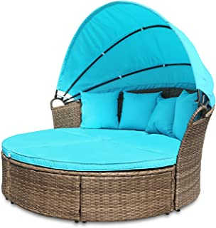 M&W Outdoor Funiture Round Patio Daybed with Retractable Canopy for Lawn Garden Backyard Pool, PE Wicker Rattan