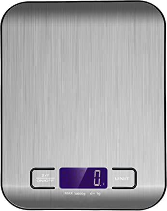 Digital Kitchen Scale Multifunction Food Scale, 11 lb 5 kg, Silver, Stainless Steel (Batteries Included) (Black)