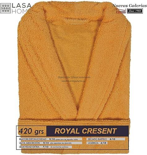 Lasa Royal Cresent Peignoir Tissu éponge de Coton avec col Smoking Medium Coucher de Soleil