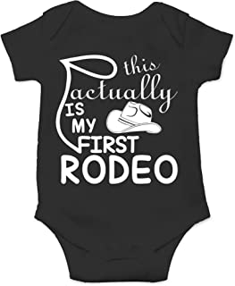 This is Actually My First Rodeo - Funny Country Cowboy and Cowgirl - Cute One-Piece Infant Baby Bodysuit