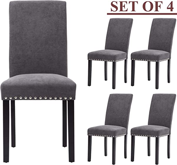 Upholstered Dining Chairs Padded Parson Chair With Silver Nails And Solid Wood Legs Set Of 4 Gray