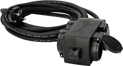 145212049 - Extensión de goma (5 m, enchufe de goma con protección de contacto y distribuidor de 4 enchufes con tapa y posibilidad de colgar, IP44), color negro