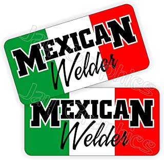 Pair - MEXICAN WELDER Hard Hat Stickers | Vinyl Welding Helmet Decals | Labels Hecho Mexico Toolbox Rude Funny Motorcycle Steel Aluminum Metal Tig Mig Stick