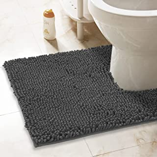 ITSOFT Non-Slip Shaggy Chenille Soft Microfibers Toilet Contour Bathroom Rug with Water Absorbent, Machine Washable, 21 x ...