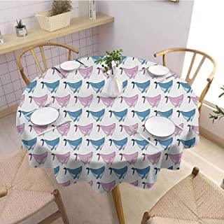 HouseLookHome Whale Beach Tablecloth Sea Animals Pattern with Smiling Fish Swimming Happily Doodle Style Art Tablecloths for Parties 43 Inch Round Blue Lilac and White