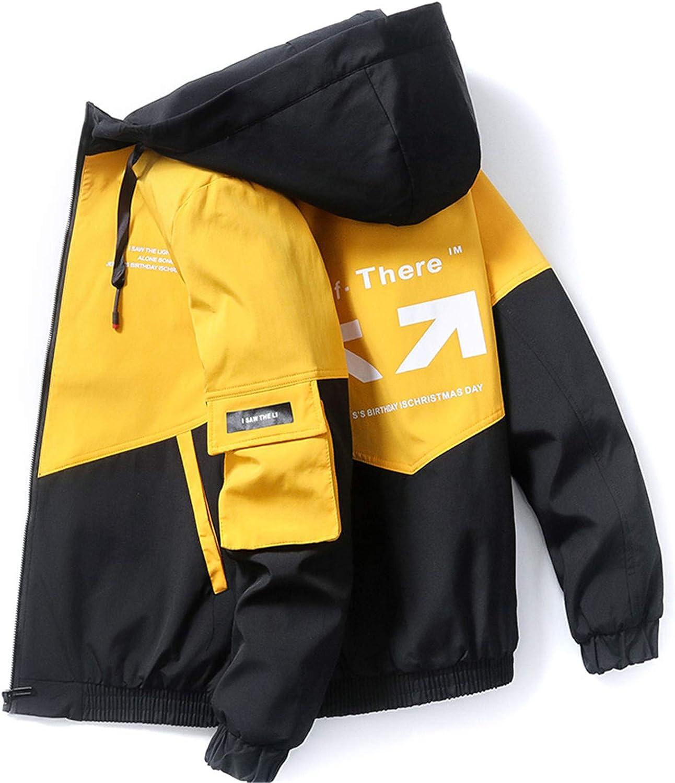 Kevents Spring Autumn Patchwork Streetwear Jackets Men Hooded Casual Loose Windbreaker Jacket Hip Hop Coat