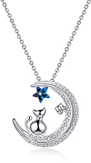 GAEA H Star Cat and Moon Pendant Necklace, 925 Sterling Silver with Swarovski Crystal Jewelry Women's Necklaces