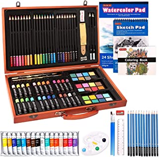 118 Piece Deluxe Art Set, Shuttle Art Art Supplies in Wooden Case, Painting Drawing Art Kit with Acrylic Paint Pencils Oil...