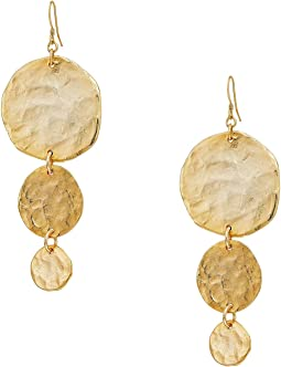 Kenneth Jay Lane Satin Gold Large To Small 3 Coin Drop Fishhook Earrings