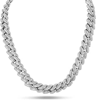 Shop-iGold Mens White Miami Cuban Link Chain Necklace Micro Pave Iced Out Lab Created Diamonds, Mens Choker Necklace - Mens Jewelry, Men's Necklace, Thick Iced Out Chain, Iced Out Jewelry