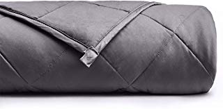 YnM Weighted Blanket (15 lbs, 48''x72'', Twin Size) for People Weigh Around 140lbs | 2.0 Cool Heavy Blanket | 100% Cotton Material with Glass Beads, Dark Grey