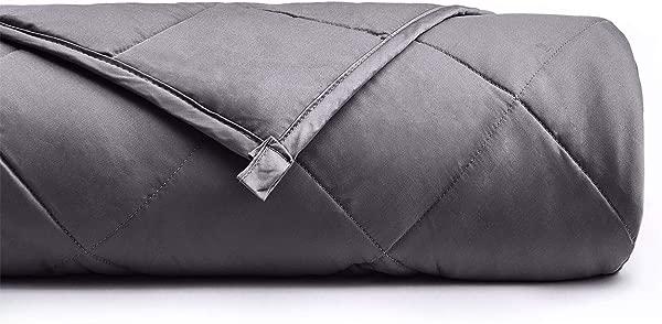 YnM 加权毯子 15 磅 60X80 大号适合体重约 140lbs 2 0 舒适的重毯子 100 棉材质玻璃珠深灰色