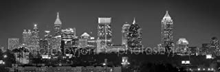Atlanta Skyline PHOTO PRINT UNFRAMED NIGHT Black & White BW Downtown Midtown City 11.75 inches x 36 inches Photographic Panorama Poster Picture Standard Size