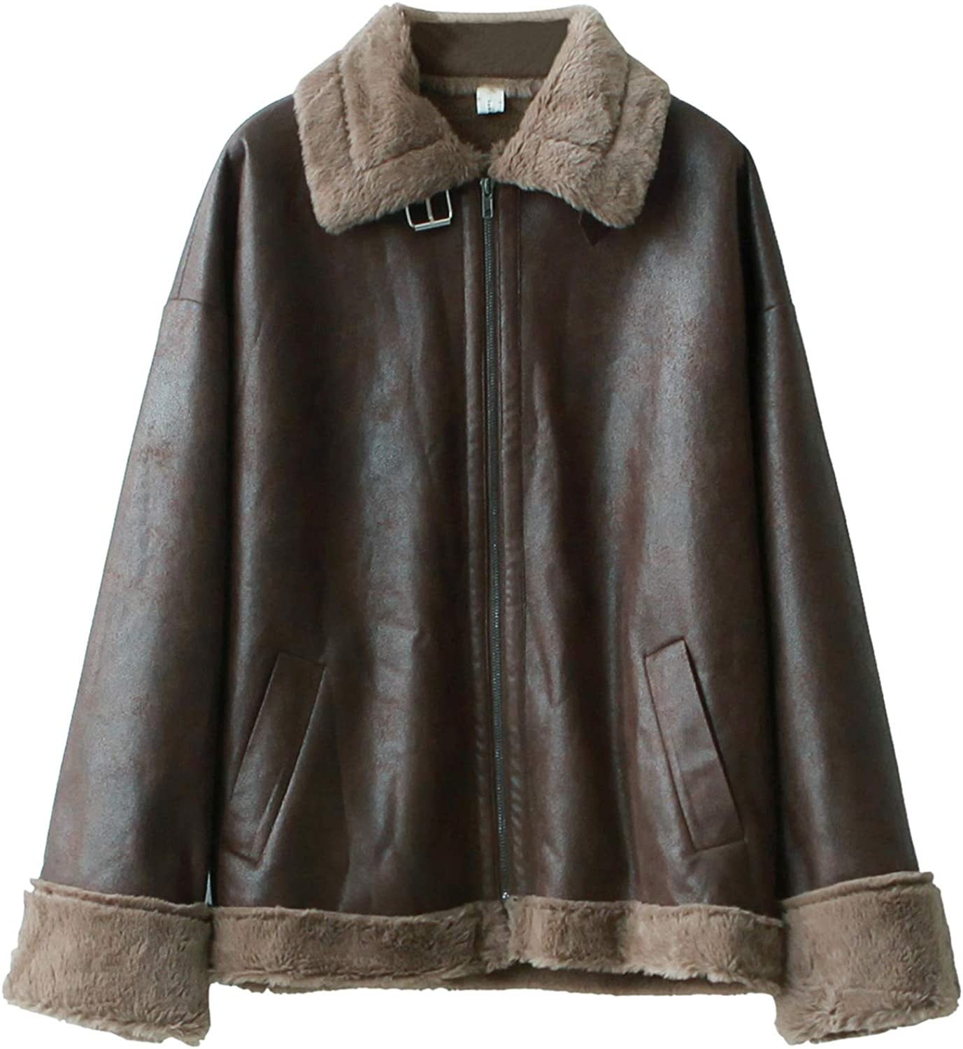 Yimoon Women's Faux Fur Lined Distressed PU Leather Moto Jacket