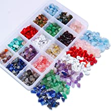 Colle Gemstone Chip Beads Assortment Crystal Energy Stone Healing Pieces Irregular Crushed Chunked Stone Beads Box Set