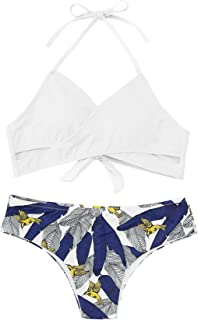 Women's Floral Halter Wrap Knotted Back Bikini Set