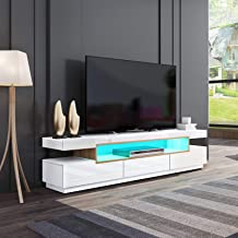 White mixed Oak Modern 160cm 3 Drawers High Gloss Front TV Stand Wooden Unit Cabinet Sideboard Entertainment Unit FREE RGB LED LIGHT