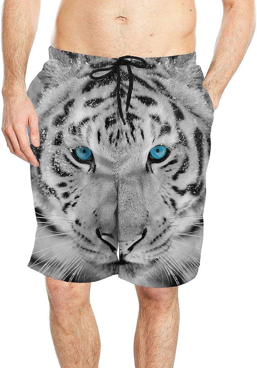DASMUS Wild Siberian Tiger Portrait Mens Quick Dry Beach Board Shorts Swim Trunks with Mesh Lining