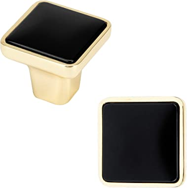 WELLOCKS Cabinet Knob 12 Pack Black, Heavy Duty Solid Square Drawer Pulls, Cabinet Hardware for Office and Home Kitchen, Bath