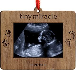 Creawoo Nature Wood Christmas Ornament Baby's First Christmas Baby Gift Sonogram Picture Frame Ultrasound Photo Frame Tiny Miracle Keepsake for Expecting Parents and Grandparents …