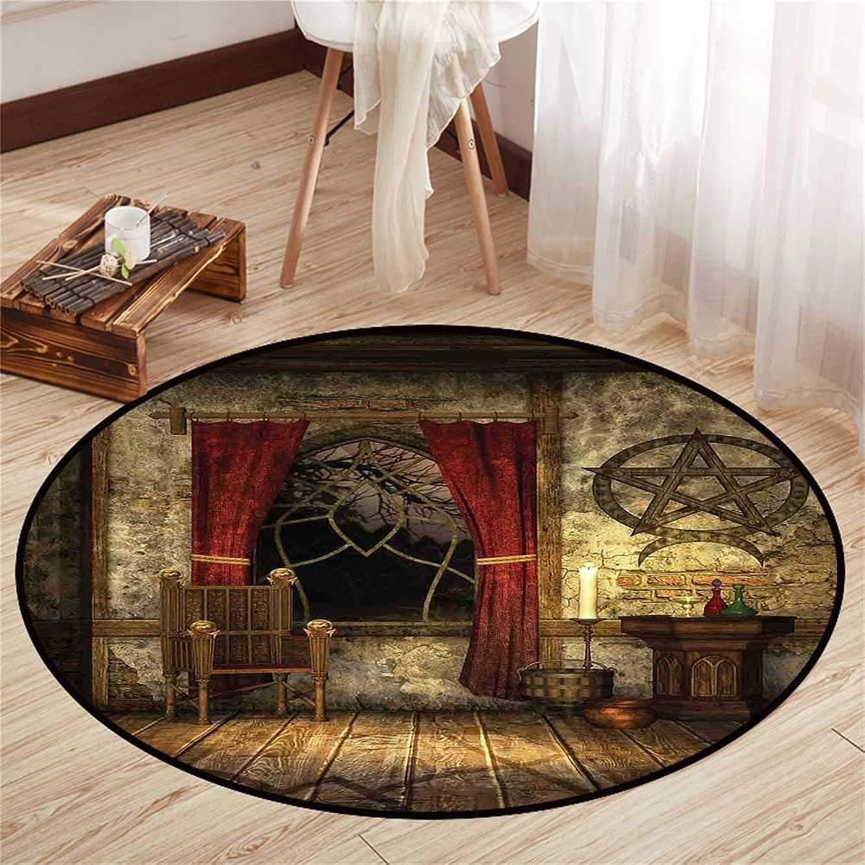 Circle Floor mat Door Round Indoor Floor mat Entrance Circle Floor mat for Office Chair Wood Floor Circle Floor mat Office Round mat for Living Room Pattern 4'3