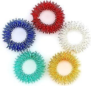 Savita 5-pack taggiga sensoriska fingerakupressurmassageringar, tyst fantastisk fidget sensorisk leksak för barn tonåringa...