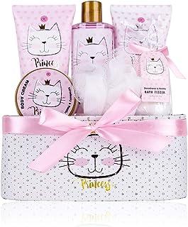 accentra Coffret cadeau Princess Kitty pour filles, coffret cocooning avec un doux parfum de fraise et de vanille, idée ca...