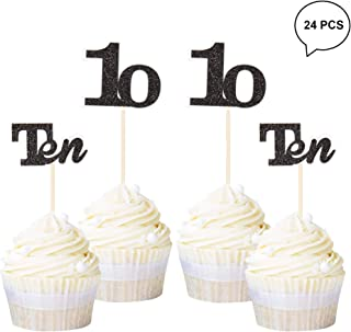 Newqueen 24 Pack Number 10 Cupcake Toppers Black Glitter Age Ten Cupcake Picks Wedding Anniversary 10th Birthday Party Cake Decorations