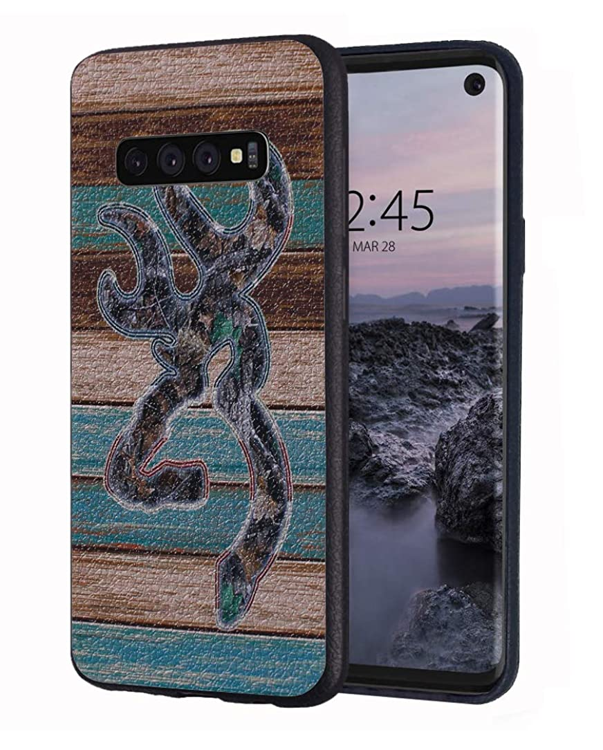 Galaxy S10 Plus Case,Vintage Rustic Wood Camo Design Slim Anti-Scratch Leather Grain Rubber Protective Case for Samsung Galaxy S10 Plus (2019) - 6.4 inch
