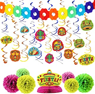 28 PCs Cinco De Mayo Fiesta Hanging Swirls Mega Pack with Strings, Honeycomb Table Centerpiece, Tissue Pom Paper Flowers & Backdrop Banner for Party Decoration, Mexican Sombrero Taco Supplies Décor.
