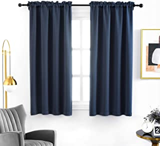 Anjee Blackout Curtain Room Darkening Thermal Insulated Curtains Rod Pocket Window Curtain for Kitchen 38 x 45 Inch 2 Panels, Navy Blue