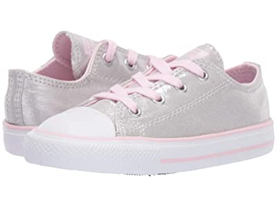 Converse Kids Chuck Taylor All Star Twilight Court Ox (Infant/Toddler) (Mouse/Pink Foam/White) Girls Shoes