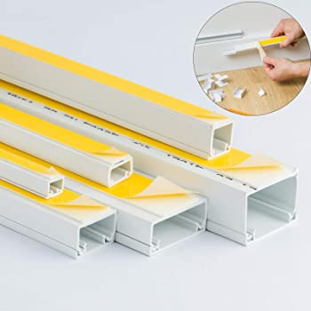 White Self Adhesive Pvc Trunking Cable Wire Tidy Plastic Electrical Conduit Mini Trunk 2x 1m Length Size Variations Including 10x8mm Amazon Co Uk Diy Tools
