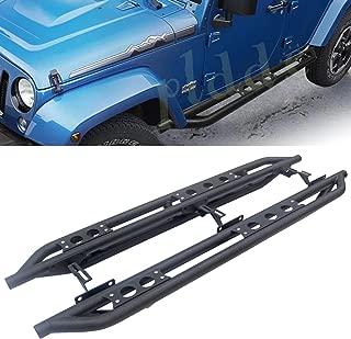 PLDDE 2pcs Textured Black Carbon Steel Bolt-On Side Armor Step Nerf Bars Running Boards + Mounting Bolts/Nuts + Installation Instruction Fit 18-20 Jeep Wrangler JL 4-Door