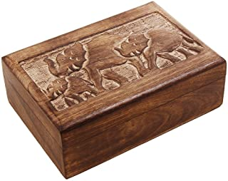 Handcrafted-India Wooden Trinket Box with Hand Carved Elephant Motif