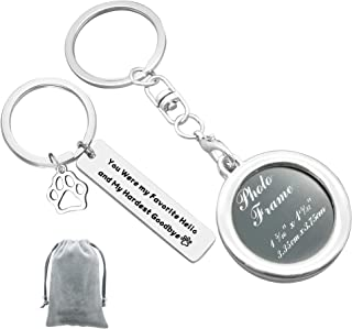 Pet Memorial Jewelry Photo Frame Keychain Set You Were My Favorite Hello and My Hardest Goodbye Keychain Pet Loss Sympathy...