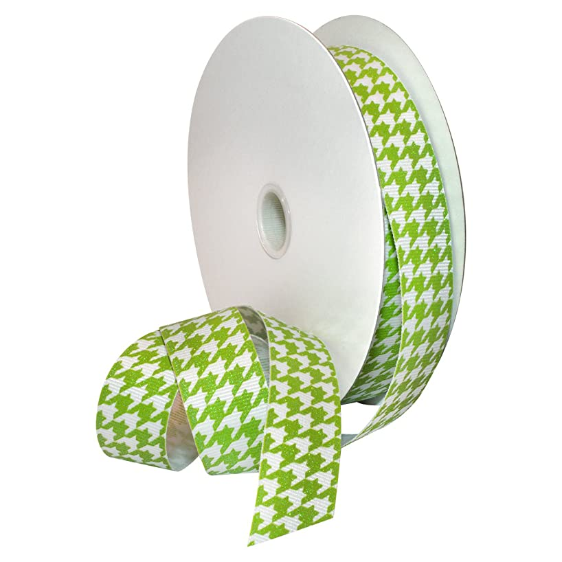 Morex Ribbon 7509.22/25-502 Hounds Tooth Grosgrain Ribbon, 7/8-Inch by 25-Yard, Lime