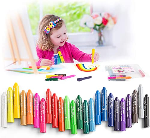 popular MayMoi Washable Crayons Tempera lowest Paint Sticks for Kids, Teens and Adults, 24 Colors, Non-Toxic, Quick lowest Drying sale