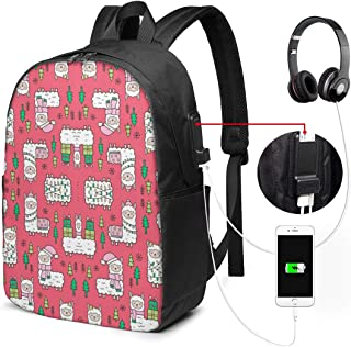 Glovesdkhh Holidays Christmas Llamas On Red Wallpaper (8130) Large Backpack for Travel and Business with USB Charger Port
