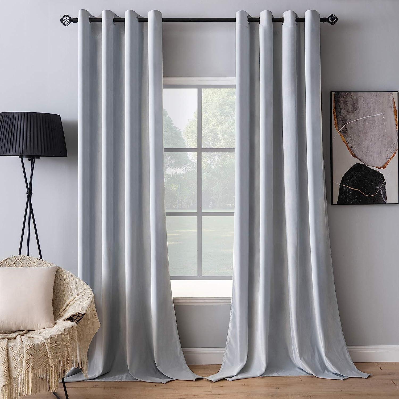 MIULEE Direct store 2 Pieces Greyish White Velvet Cheap super special price Exquisite Curtains Elegan