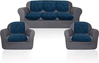 Cloth Fusion Italian Velvet 5 Seater Sofa Cover Set - Blue